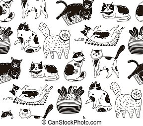 Monochrome seamless pattern with cats sleeping, washing, playing, stretching itself. Backdrop with cute purebred pet animals hand drawn with contour lines on white background. Vector illustration.