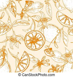 Monochrome seamless pattern with fresh lemons, whole and cut into slices, flowers and leaves on light background. Backdrop with ripe citrus fruits. Natural vector illustration in engraving style.