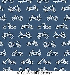 Monochrome seamless pattern with motorcycles of various models drawn with white outlines on blue background - chopper, bobber, sport and motocross bikes. Vector illustration in trendy linear style.