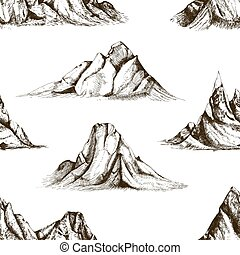 Monochrome seamless pattern with mountain peaks hand drawn with contour lines on white background. Backdrop with rocky cliffs. Vector illustration in vintage woodcut style for fabric print, wallpaper.