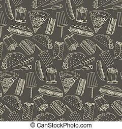 Monochrome seamless pattern with outline fast food symbols