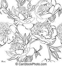 Monochrome seamless pattern with Peony flowers