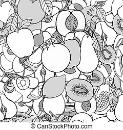 set of sweet fruits - Monochrome Seamless pattern with set...
