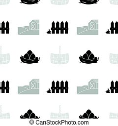 Monochrome seamless pattern with silhouettes. Farm market background for food packaging or brand identity