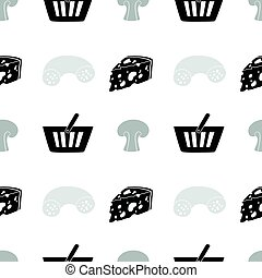 Monochrome seamless pattern with silhouettes. Food shop background for packaging or brand identity