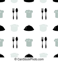 Monochrome seamless pattern with silhouettes. Restaurant...
