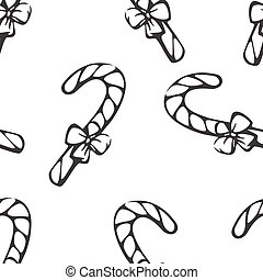 Monochrome seamless pattern with sketching candy canes