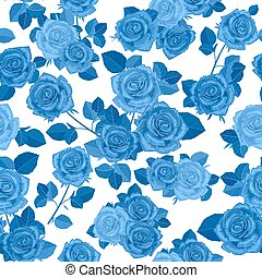 monochrome seamless texture with blue roses