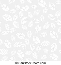 Monochrome seamless vector pattern with leaves