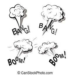 Monochrome set of flat cartoon doodles with four powerful big explosions isolated on a white background with lettering Bang, Boom.