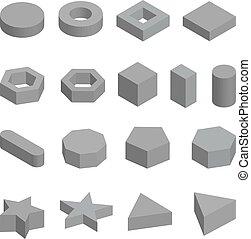 Monochrome set of geometric shapes, platonic solids, vector ...