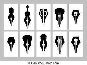 monochrome set of templates for business card with nib, ...