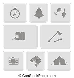 monochrome set with camping icons