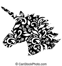 Monochrome shape, silhouette  of the magical unicorn on the black and white background with embroidery inspired floral elements