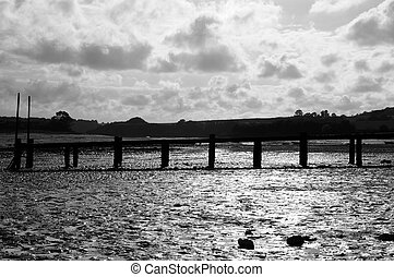 Monochrome shot of Low tide in Brittany, France