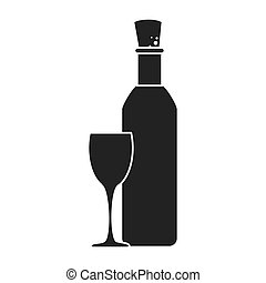 monochrome silhouette bottle wine with glass cup