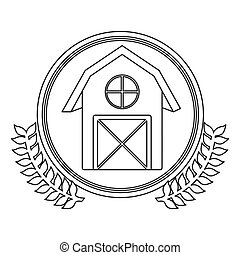 monochrome silhouette circle with decorative olive branch with barn
