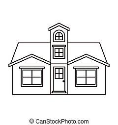 monochrome silhouette facade house with attic vector...
