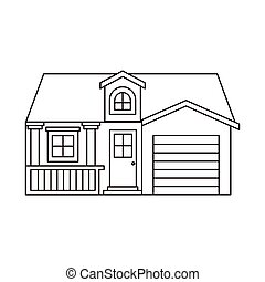 monochrome silhouette facade house with garage and attic...