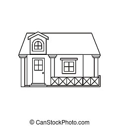 monochrome silhouette facade house with railing and attic...