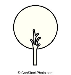monochrome silhouette of abstract tree with foliage in round shape
