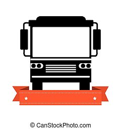 monochrome silhouette of bus with ribbon