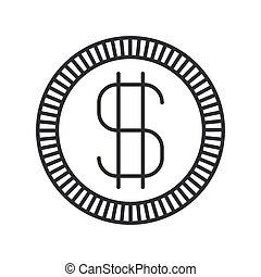 monochrome silhouette of coin with money symbol