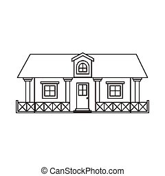 monochrome silhouette of country house with railing and...