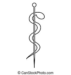 monochrome silhouette of health symbol with asclepius snake coiled