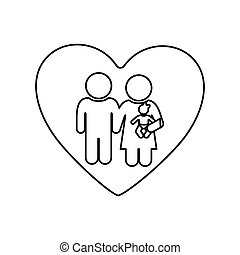 monochrome silhouette of heart and pictogram couple with baby