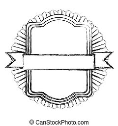 monochrome silhouette of heraldic rectangle with ribbon in the middle