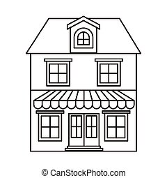 monochrome silhouette of house with two floors with attic...