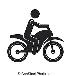 monochrome silhouette of man in motorcycle vector...