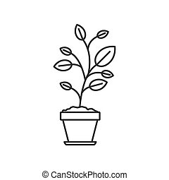 monochrome silhouette of plant in flower pot