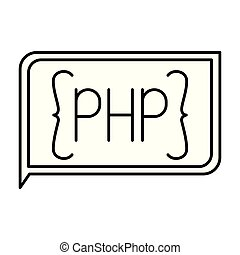 monochrome silhouette of rectangle text php vector...
