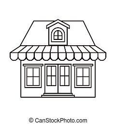 monochrome silhouette of store with awning and attic vector...