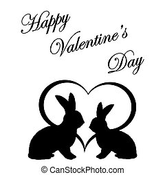 Monochrome silhouette of two rabbits and a heart. Valentine's day postcard. Vector-art illustration