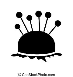 monochrome silhouette pincushion with pins icon vector illustration