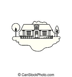 monochrome silhouette scene of outdoor landscape and country house with railing