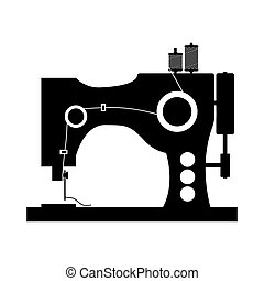 monochrome silhouette sewing machine icon