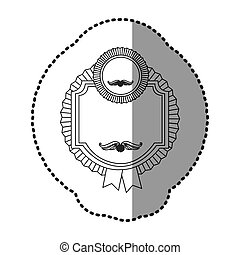 monochrome silhouette sticker of heraldic frame with circular emblem and ribbon