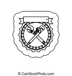 monochrome silhouette sticker with circular frame with crossed wrenches and ribbon vector illustration