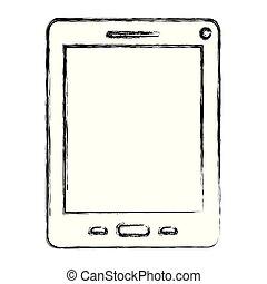 monochrome, silhouette, tablette, brouillé