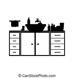 monochrome silhouette washstand with furniture vector...