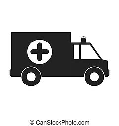 monochrome silhouette with ambulance and cross