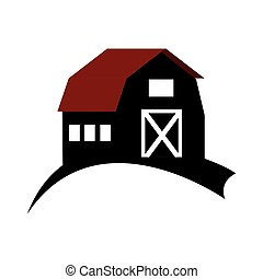 monochrome silhouette with barn of two floors vector...