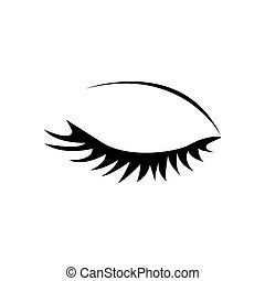 monochrome silhouette with female eye closed vector...