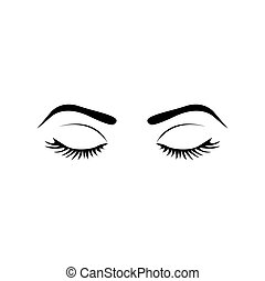 monochrome silhouette with female eyes closed and eyebrow vector illustration