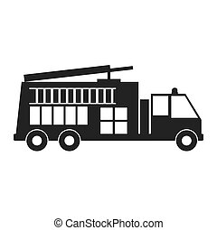 monochrome silhouette with fire truck