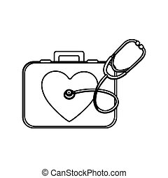 monochrome silhouette with first aid kit with symbol of heart and stethoscope